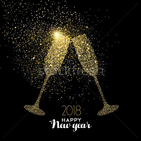 Happy New Year party drink gold glitter dust card Stock photo © cienpies