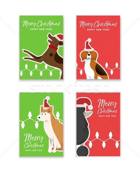 Natal ano novo cão cartão conjunto alegre Foto stock © cienpies