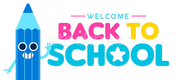 Back to school web banner of funny color pencil Stock photo © cienpies