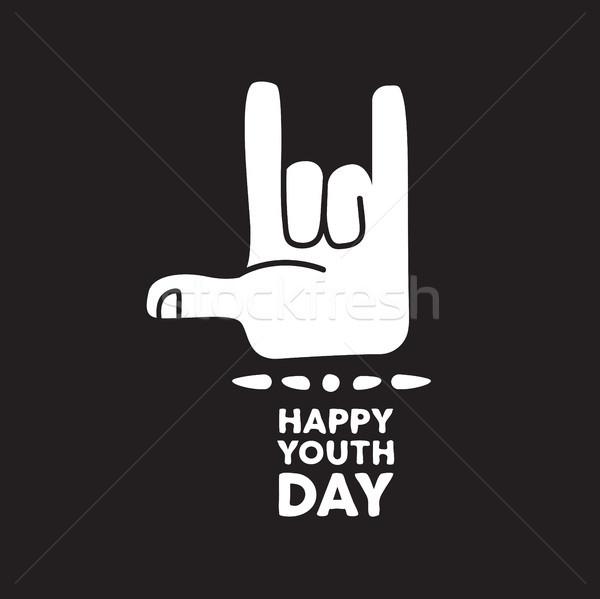 счастливым молодежи день рок рукой знак цитировать Сток-фото © cienpies