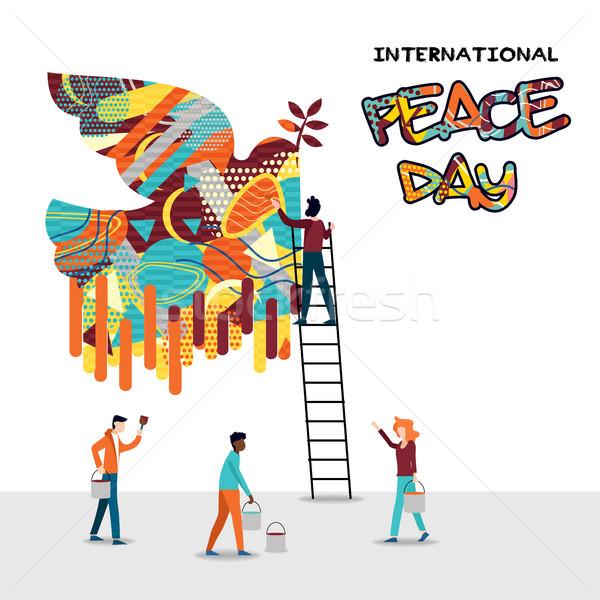 Mundo paz día tarjeta diverso personas Foto stock © cienpies