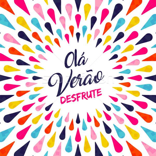 Hello summer portuguese vacation typography  Stock photo © cienpies