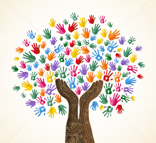 Human hand tree for culture diversity concept Stock photo © cienpies