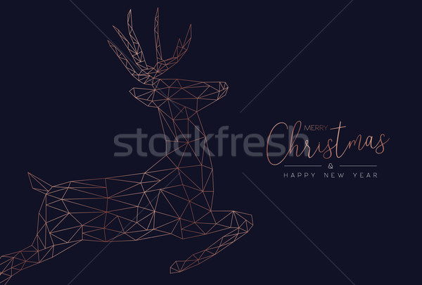 Christmas and new year abstract reindeer card Stock photo © cienpies