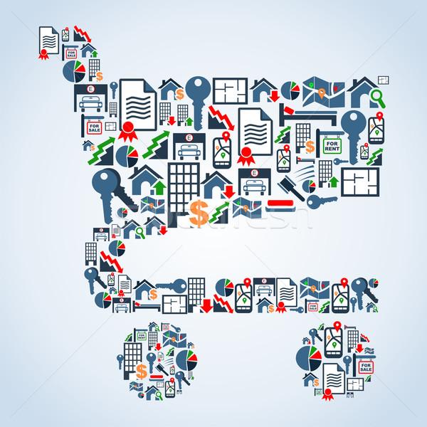 Stock fotó: Tulajdon · szolgáltatás · ikonok · bevásárlókocsi · forma · ingatlan