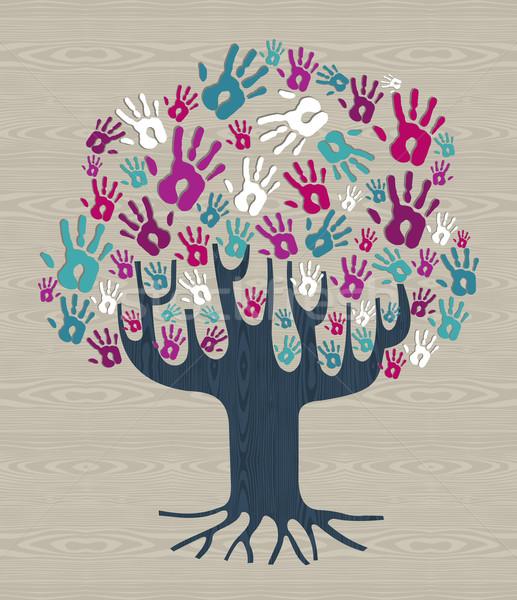 Photo stock: Hiver · couleurs · diversité · arbre · mains · illustration