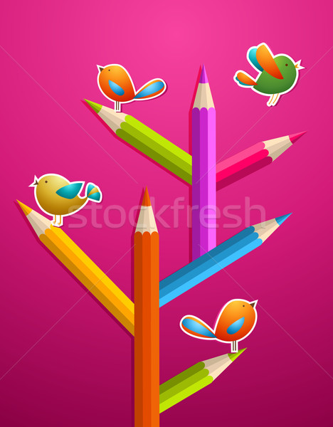 Art pencils and birds Christmas tree Stock photo © cienpies