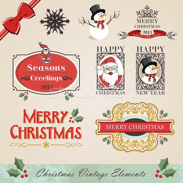 Stock fotó: Klasszikus · karácsony · elemek · szett · új · év · évszak
