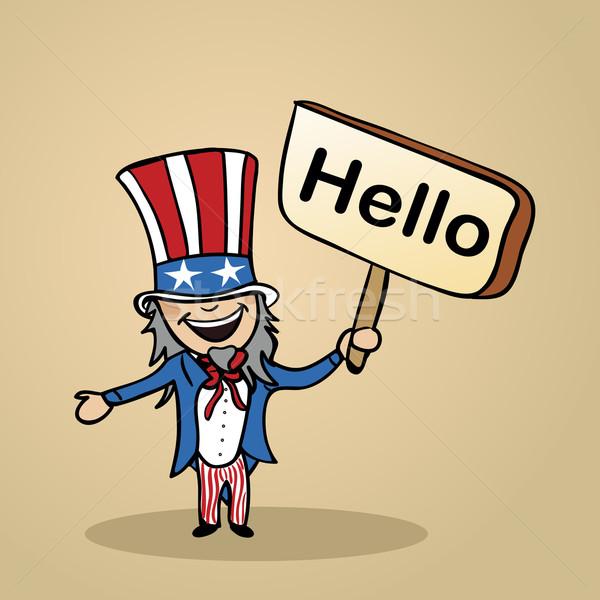 ハロー 米国 人 デザイン トレンディー アメリカン ストックフォト © cienpies