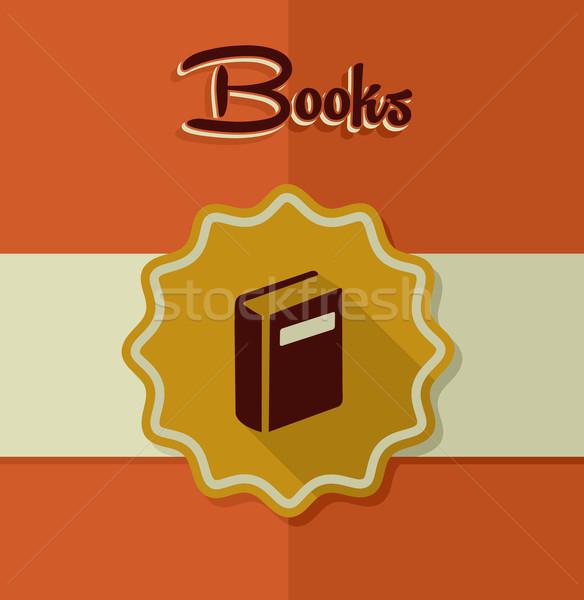 Bağbozumu kitaplar etiket elemanları Retro ikon Stok fotoğraf © cienpies