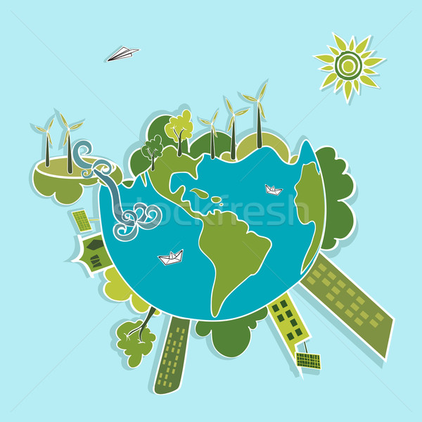 Green World ecologic elements. Stock photo © cienpies