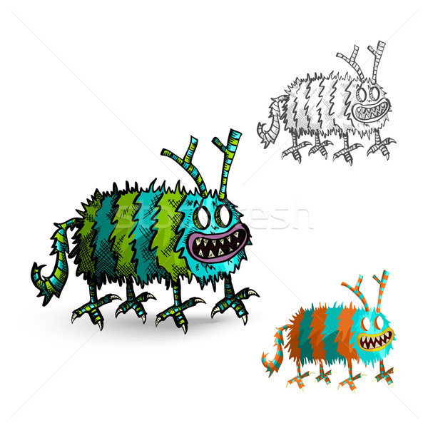 Halloween Monsters spooky isolated creatures set. Stock photo © cienpies