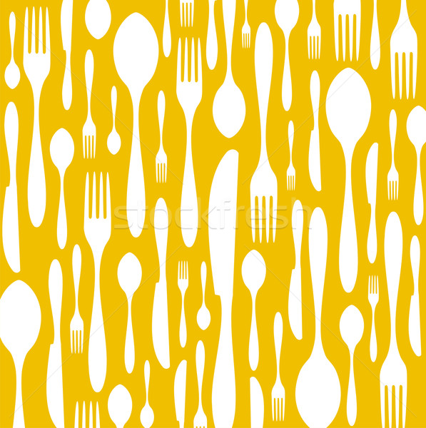Cutlery pattern on yellow background Stock photo © cienpies