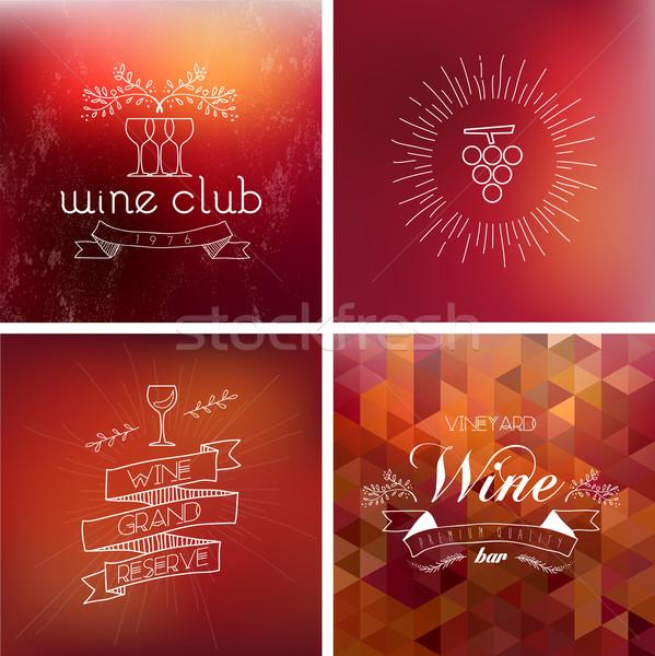 Wine bar vintage label background set Stock photo © cienpies