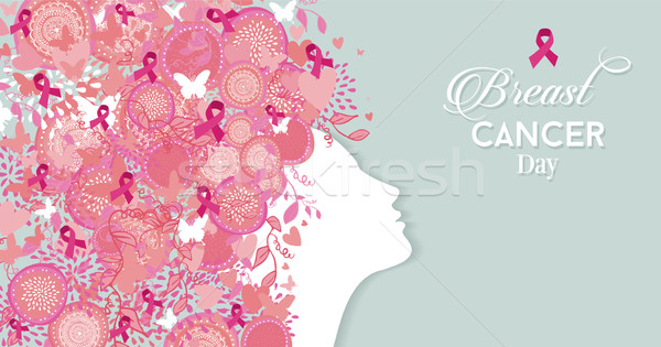 Breast cancer day woman silhouette pink ribbon Stock photo © cienpies