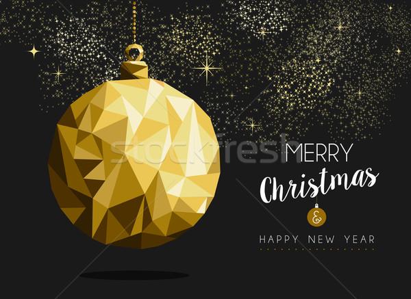 Wesoły christmas szczęśliwego nowego roku złota cacko origami Zdjęcia stock © cienpies