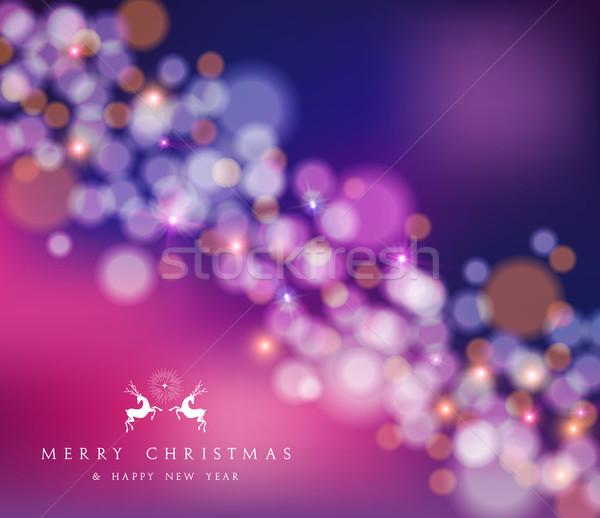 Stok fotoğraf: Neşeli · Noel · happy · new · year · bokeh · ren · geyiği · kart