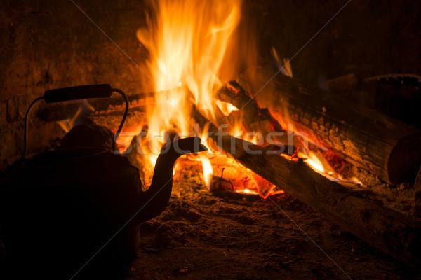 Winter brand haard oude huis vintage tijd Stockfoto © cienpies