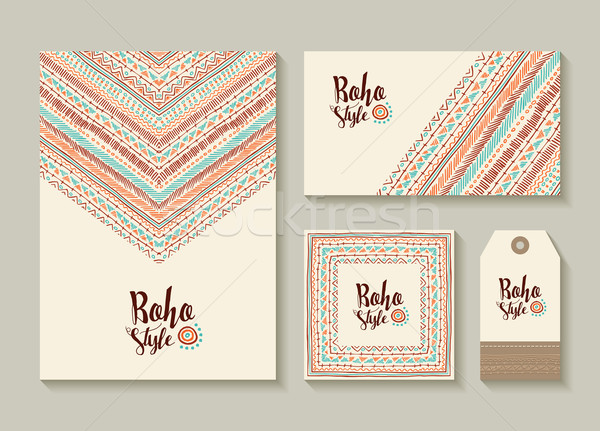 Boho style card and tag designs with colorful art Stock photo © cienpies