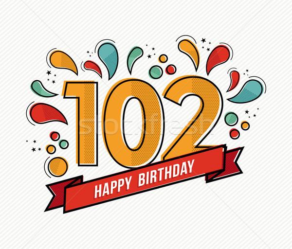 Stockfoto: Kleur · gelukkige · verjaardag · aantal · lijn · ontwerp · wenskaart