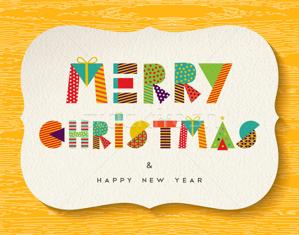 Merry Christmas Happy new Year fun color design Stock photo © cienpies