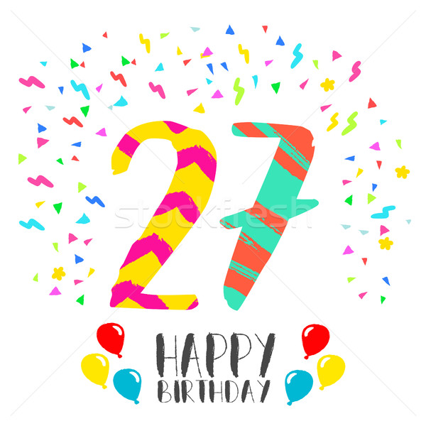 Happy Birthday for 27 year party invitation card Stock photo © cienpies