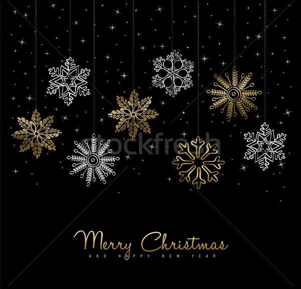 Ouro natal inverno decoração cartão projeto Foto stock © cienpies