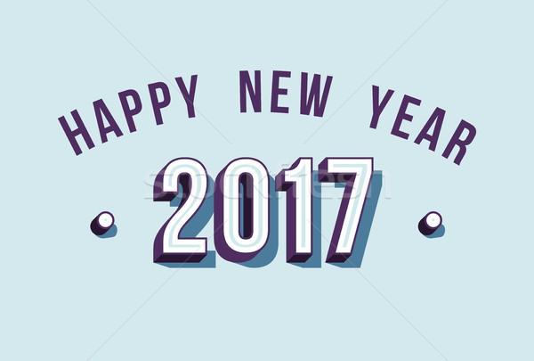 Happy New Year 2017 varsity style retro typography Stock photo © cienpies