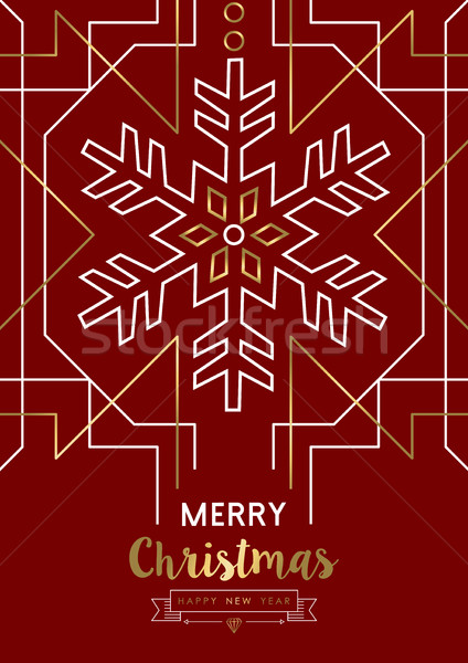 Merry christmas new year snowflake gold deco retro Stock photo © cienpies