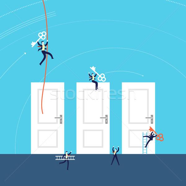 Business doors to success concept illustration Stock photo © cienpies