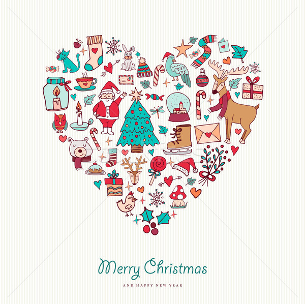 Christmas and new year hand drawn icon heart  Stock photo © cienpies