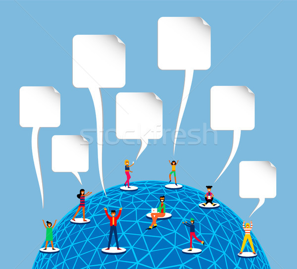 Social media world concept with blank templates Stock photo © cienpies