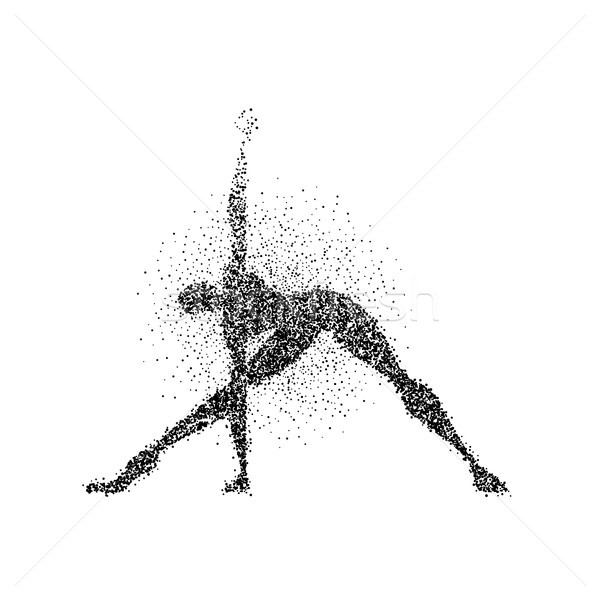 Homme pose de yoga silhouette particules Splash art Photo stock © cienpies