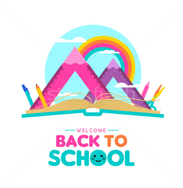 Back to school concept of geometry ruler landscape Stock photo © cienpies