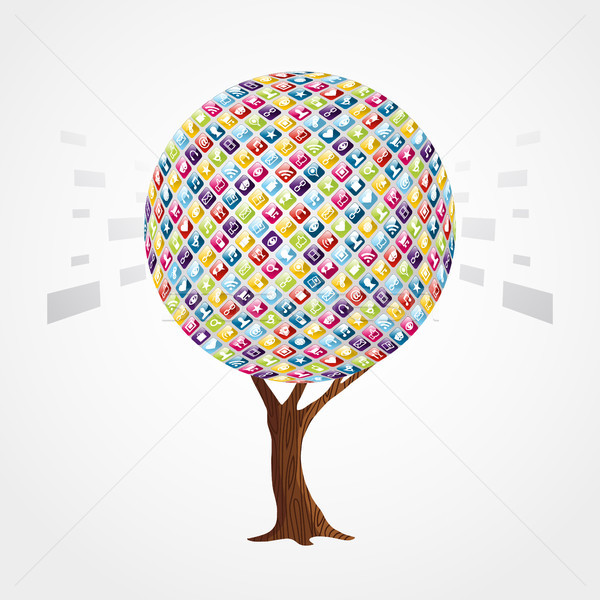 Mobile phone app icon concept for internet network Stock photo © cienpies