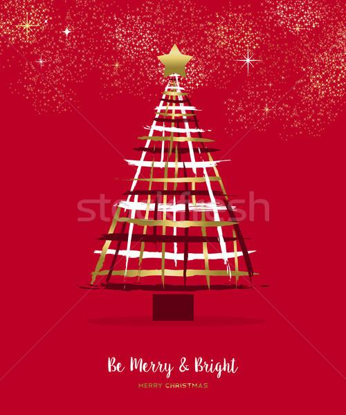 Alegre Navidad oro dibujado a mano pino tarjeta Foto stock © cienpies
