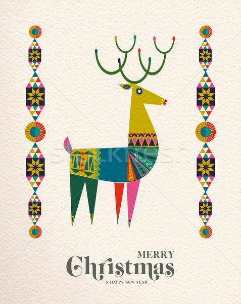 Christmas and New Year Scandinavian deer card Stock photo © cienpies