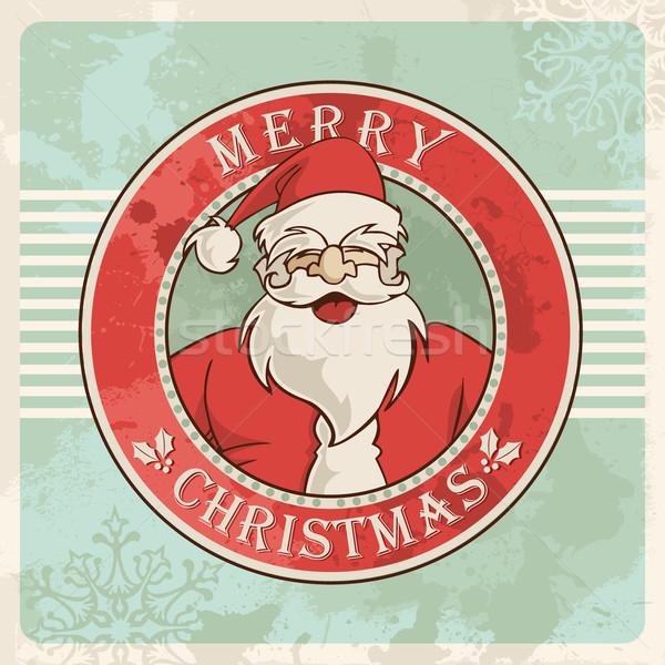 Merry christmas santa vintage postcard Stock photo © cienpies