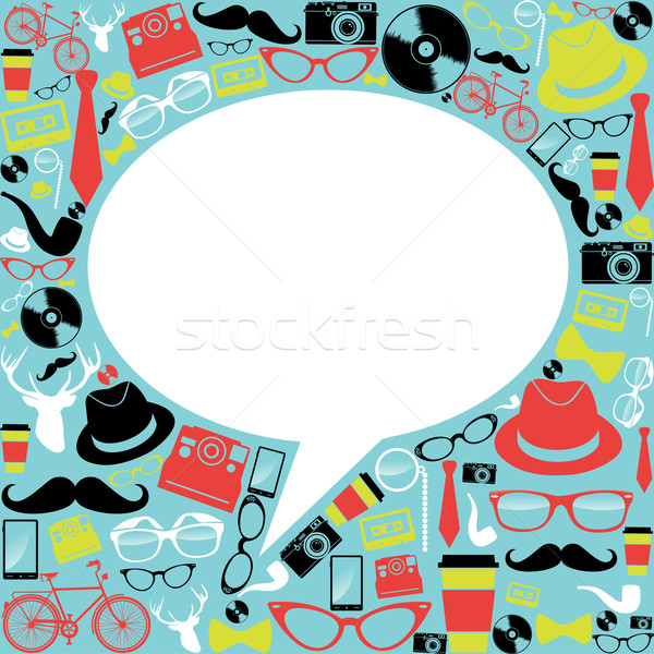 Vintage hipster icons social media Stock photo © cienpies