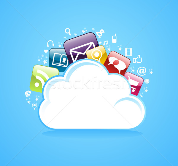 Cloud storage glossy app icons. Stock photo © cienpies