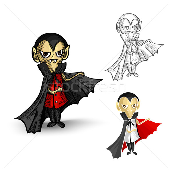 Halloween monsters isolated spooky vampires set. Stock photo © cienpies