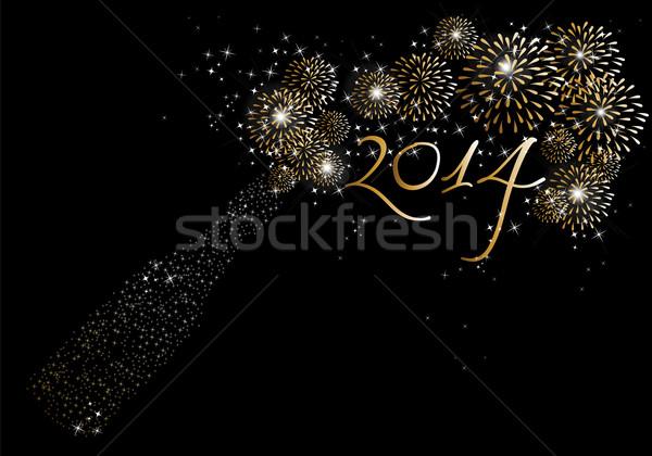 Szczęśliwego nowego roku 2014 szampana fajerwerków wakacje butelki Zdjęcia stock © cienpies