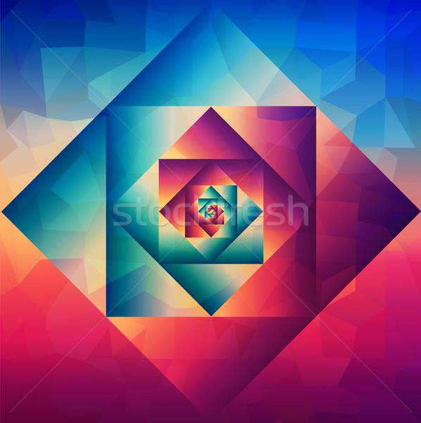 Vintage kunst geometrisch patroon kleurrijk retro Stockfoto © cienpies