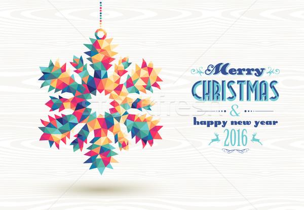 Merry christmas happy new year 2016 triangle snow Stock photo © cienpies