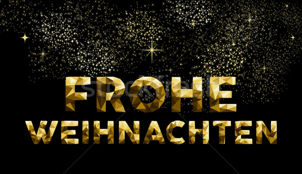 Christmas german frohe weihnachten low poly gold Stock photo © cienpies