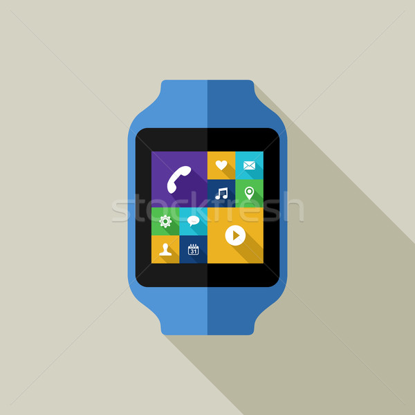 Colorful smart watch illustration with social icon Stock photo © cienpies