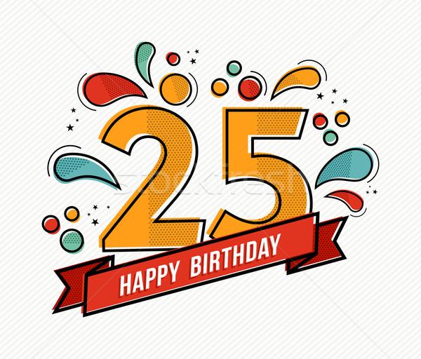 Renkli mutlu yıllar numara 25 hat dizayn Stok fotoğraf © cienpies