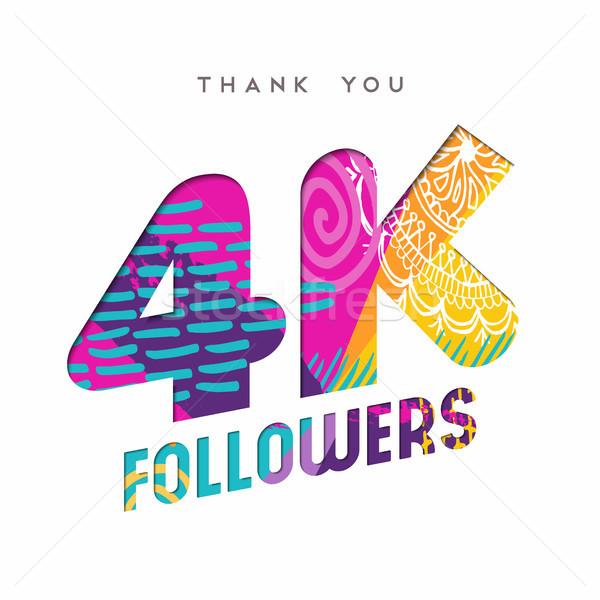 4k social media follower number thank you template Stock photo © cienpies