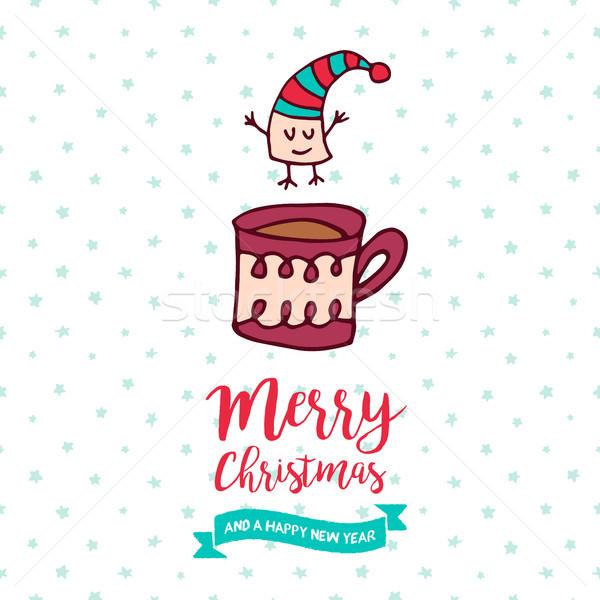 Natale capodanno cute marshmallow cartoon allegro Foto d'archivio © cienpies