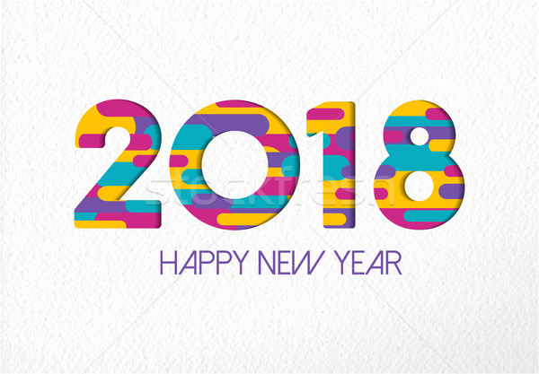 Happy New Year 2018 color paper cut number card Stock photo © cienpies
